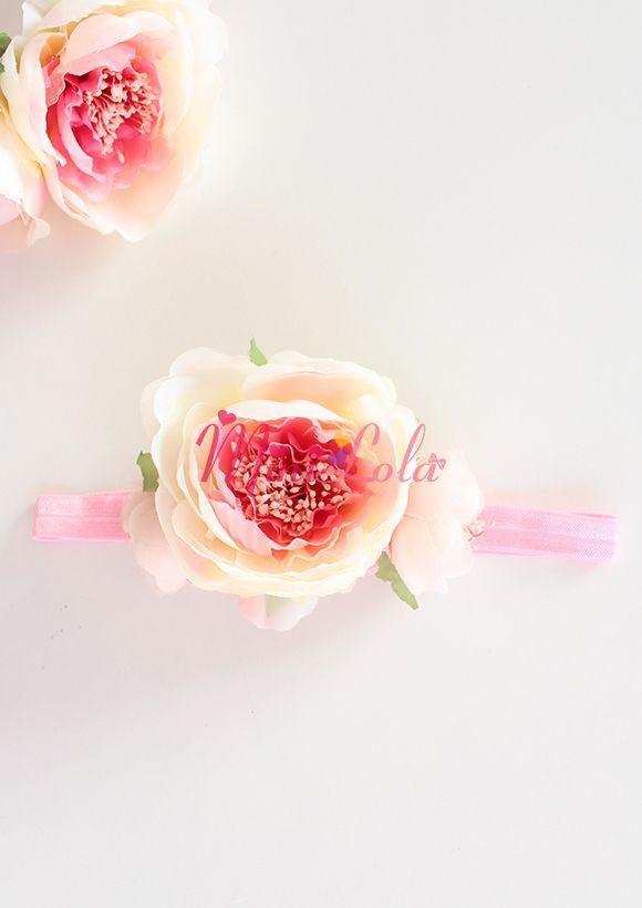 Krem pembe karışık renk geniş şakayık çiçekli saç bandı