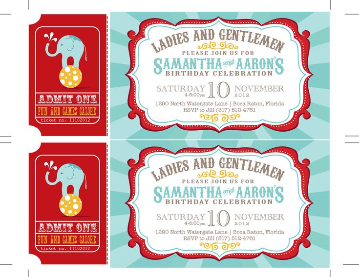 the 25+ best circus invitations ideas on pinterest | circus party, Birthday invitations