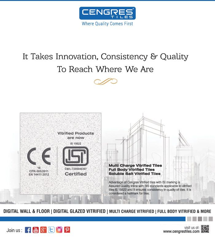 Cengres Vitrified Tiles Products Secured ISI Marking..!! It Takes Innovation, Consistency & Quality To Reach Where We Are..!!