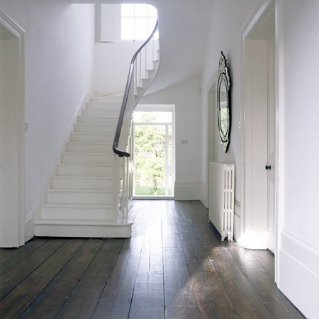 neutrals, simple, clean, dark wood floors, mirror Needs a runner