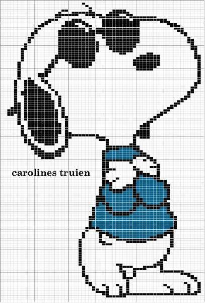 Cross-stitch Snoopy Joe Cool ... no color chart available, just use the pattern chart as your color guide.. or choose your own colors...    En Punto De Cruz