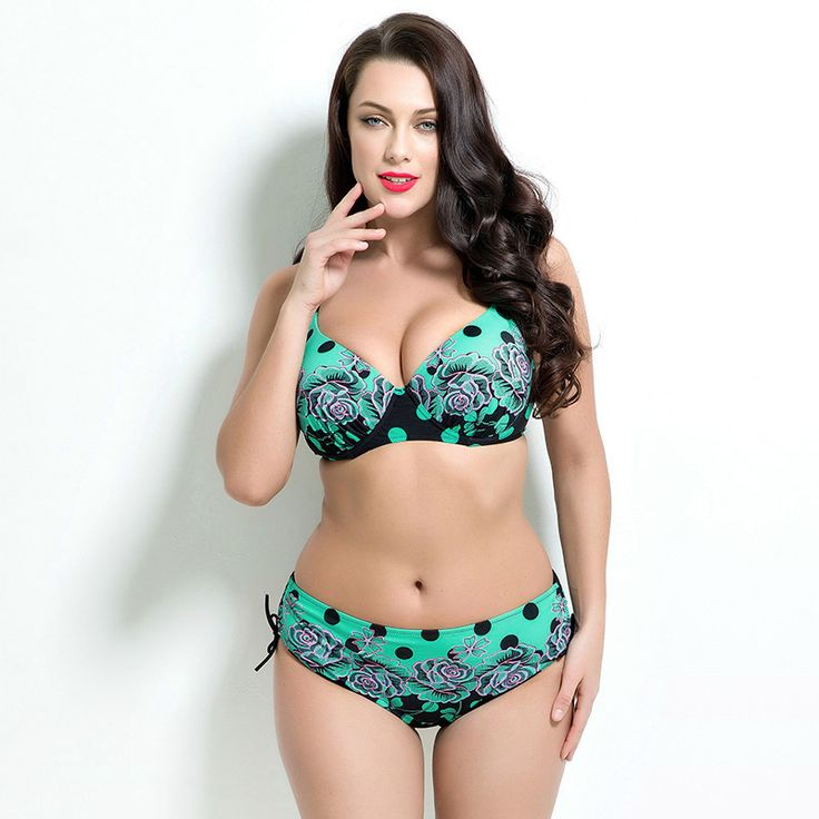 Polka dot Womens Sexy Plus Size Bikini Set Swimsuit Push Up Bra and Drawstring Bottom Padding Sproty Swimwear Adjustable Strap >>> For more information, visit image link.