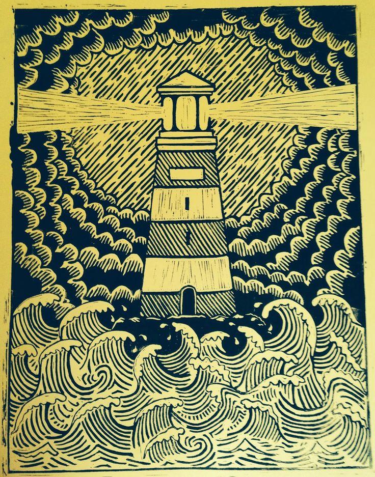 restless lino print lino cut lighthouse nautical images restless