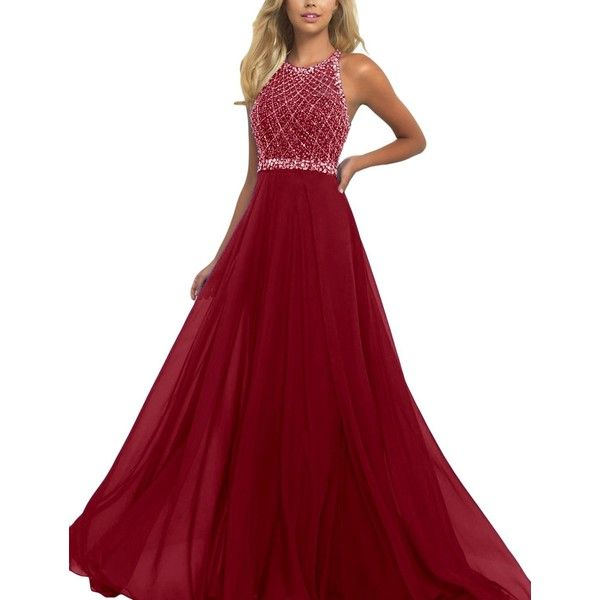 SeasonMall Women's Prom Dresses A Line Halter Open Back Chiffon Tulle... ($90) ❤ liked on Polyvore featuring dresses, prom dresses, red halter top, tulle prom dresses, red chiffon dress and halter prom dresses
