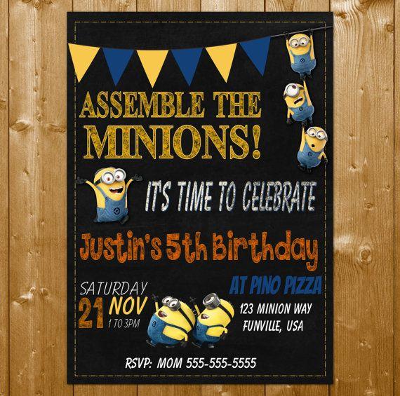 MINION INVITATION, Minions Invitations, Minions Boy, Minions Birthday Invitation for a Boy! Your Minion party invitation will come in the