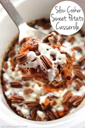 Slow Cooker Sweet Potato Casserole With Sweet Potatoes, Brown Sugar, Softened Butter, Water, Vanilla, Pumpkin Pie Spice, Mini Marshmallows, Pecans