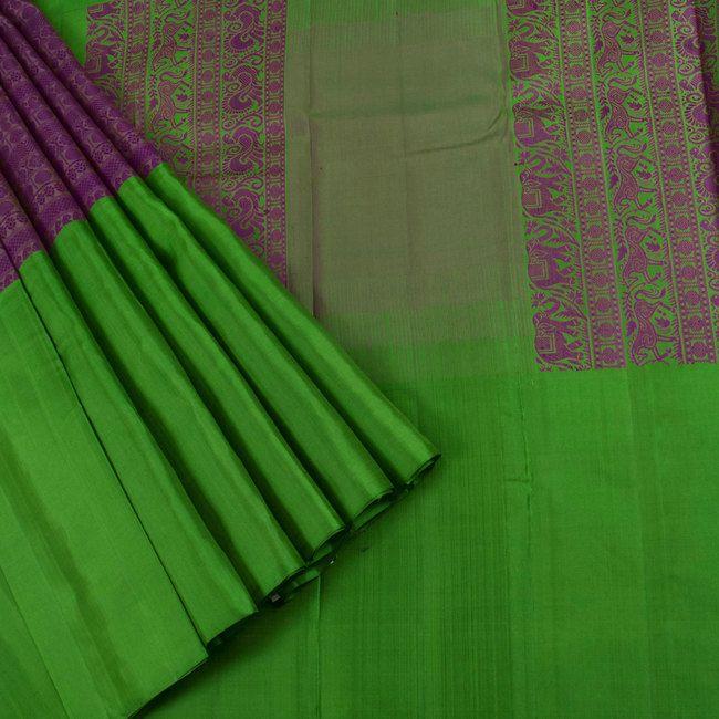 Ghanshyam Sarode Handwoven Cadillac Purple & LaPalma Green Kanchipuram Muppagam Silk Sari 10002461 - AVISHYA