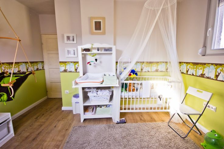 Baby room with grey, green and white. With IKEA Hensvik.