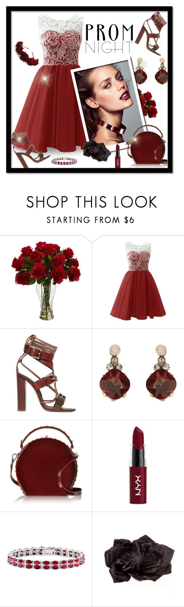 """Perfect Prom Night-Burgundy"" by majezy ❤ liked on Polyvore featuring Etro, Accessorize, Bertoni, NYX, Kevin Jewelers and Johnny Loves Rosie"