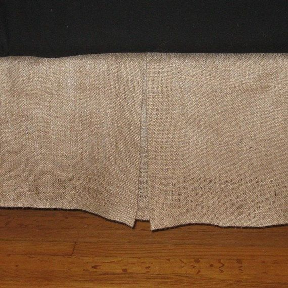 """14"""" To 20"""" Drop - King Size or California King Size BURLAP Bed skirt with kick pleat on each side"""
