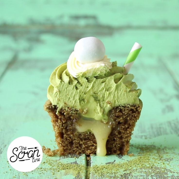 Green tea dessert fans will fall in love with this matcha cupcake filled with white chocolate ganache.