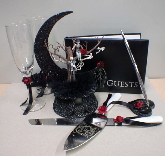 Nightmare before Christmas Wedding Cake topper Lot Glasses Server set Black Guest Book jack  sally on Etsy, $199.00