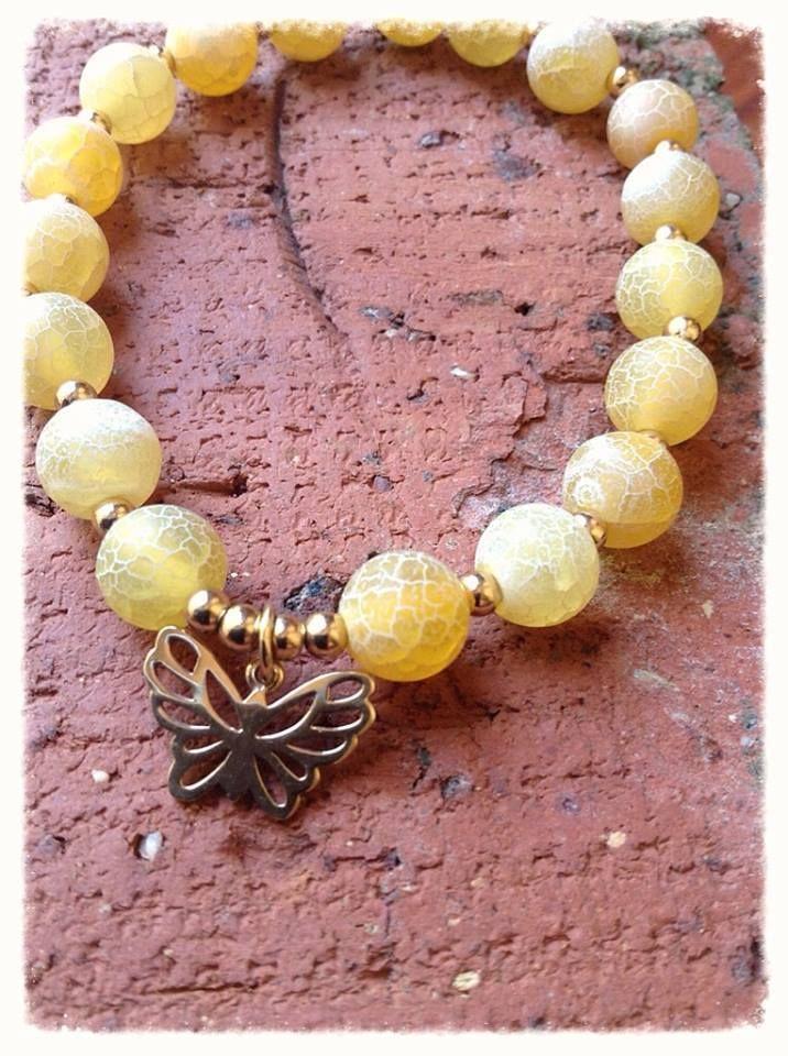 Butterfly Fresh Yellow Beaded Bracelet
