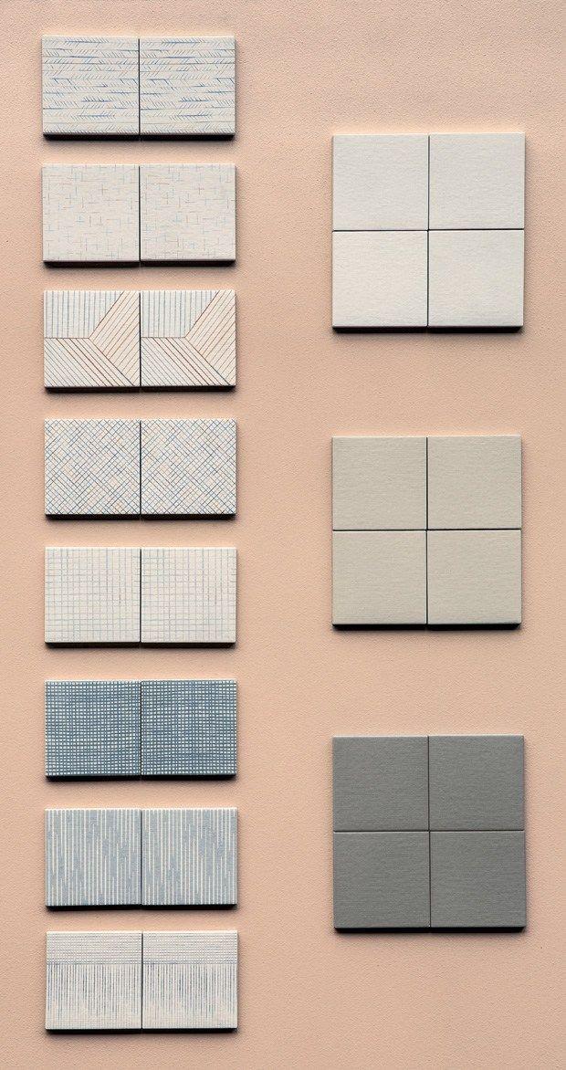 8 pattern disegnati a mano per una collezione composta da piccole piastrelle