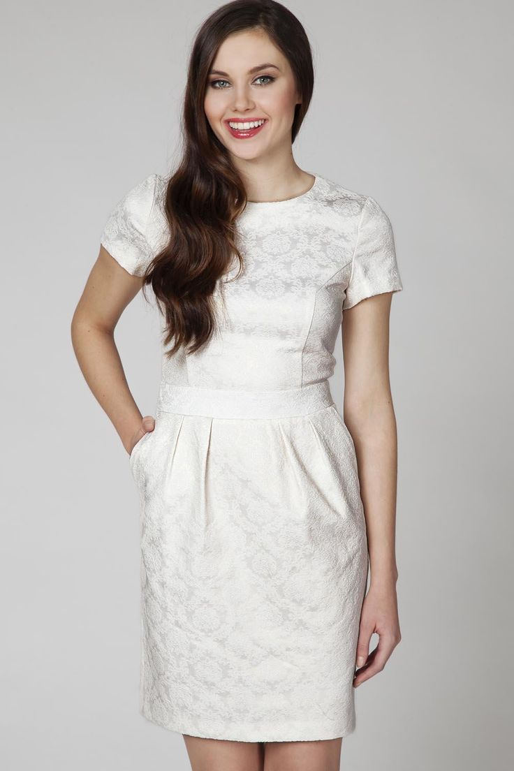 Cream Jaquard Short Sleeves Coctail Dress LAVELIQ