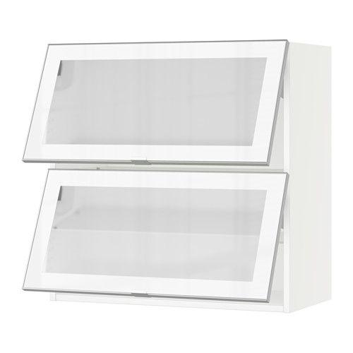 SEKTION Horizontal Wall Cabinet/2glass Door, White, Jutis