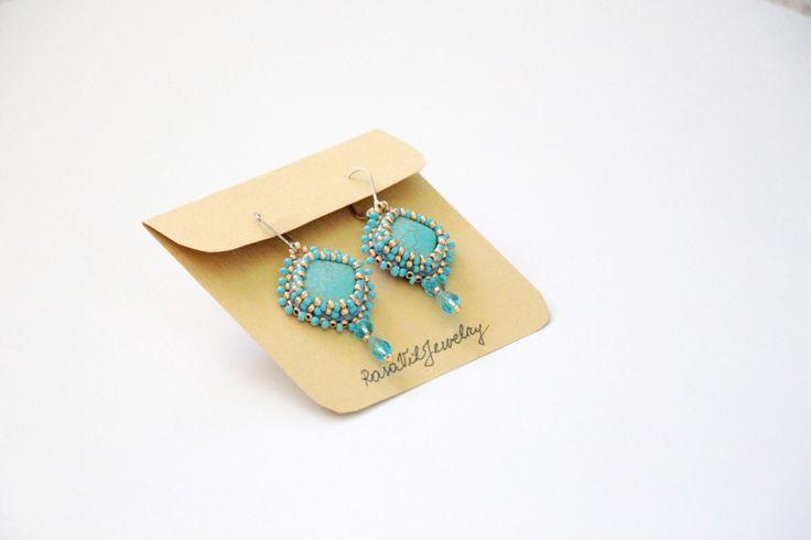 Turquoise bridesmaid earrings, blue gold statement stylish earrings, tribal rhombus earrings, square sparkle jewelry, oriental dangling(Etsy のRasaVilJewelryより) https://www.etsy.com/jp/listing/187800298/turquoise-bridesmaid-earrings-blue-gold