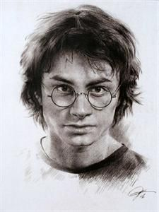 Daniel Radcliffe in Harry Potter Sketch Portrait, Charcoal Graphite Pencil Drawing - Double Matt Reproduction