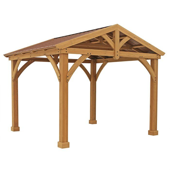 Avery Pavilion 10 Ft W X 12 Ft D Solid Wood Patio Gazebo Outdoor Pergola Patio Gazebo Outdoor Pavillion