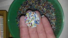 Fairy garden stepping stones made from sculpy and glass seed beads.