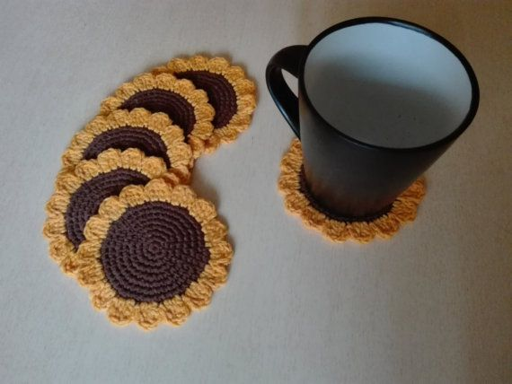 Crochet coasters  Sunflowers by kaizerka on Etsy