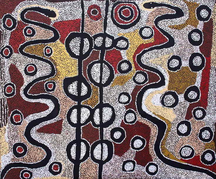 Witjiti George - Wanampi Tjukurpa - 122 x 102 cm - 18-26 http://www.aboriginalsignature.com/art-aborigene-kaltjiti/witjiti-george-wanampi-tjukurpa-122-x-102-cm-18-26