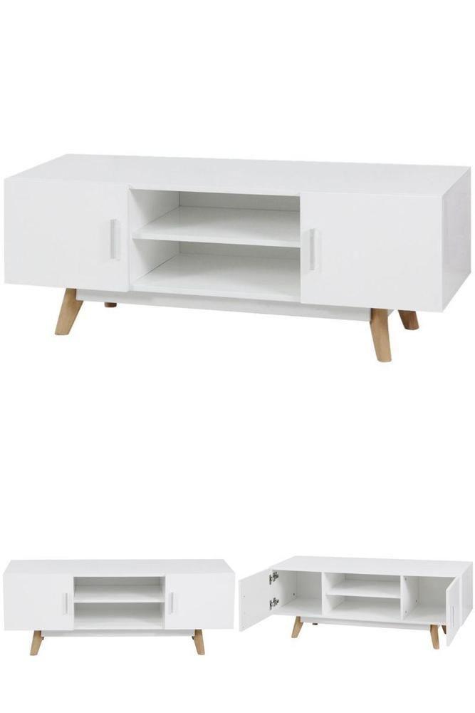 Wondrous White Retro Tv Stand Wooden Gloss Media Center Table Cabinet Creativecarmelina Interior Chair Design Creativecarmelinacom