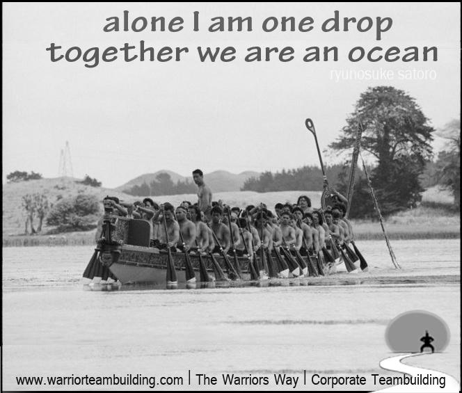 """alone I am one drop, together we are an ocean"" Ryunosuke Satoro  http://www.warriorteambuilding.com/    Kurahaupo waka at Kurahaupo Waka Festival on Lake Horowhenua - 14th January 1991    Photograph taken by Phil Reid. Dominion post  Alexander Turnbull Library, Wellington, New Zealand. beta.natlib.govt.nz/records/23225517"