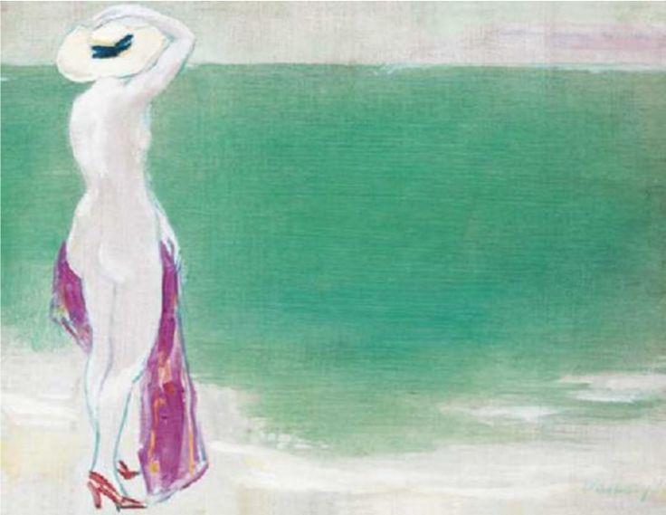 János Vaszary (1867-1938, Hungarian), 1938, Akt tengerparton (Nude on the beach).