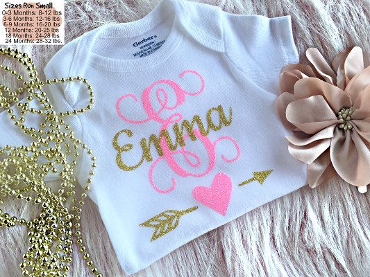 Monogram Onesie Personalized Girl Onesies Newborn by MyLunaBaby