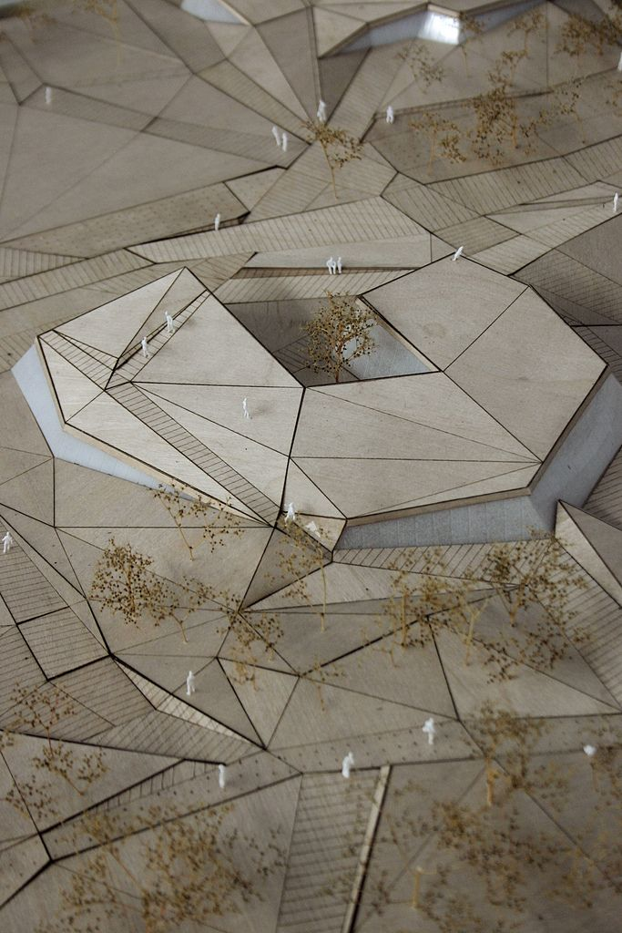 competition entry: Topographie des Senses: Pavilions Cosandey EPFL, Lausanne, Convergeo | Waldvogel & Huang, 2012  model by Franck Dal-Zotto