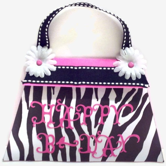 Zebra Print Birthday Card Purse Shaped by PracticallyCrafty, $3.99