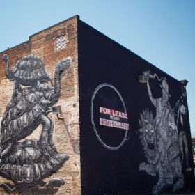 Roa turtles and 2501 man with lion 11 south 18th for 18th street mural