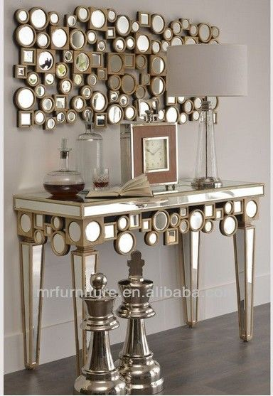 Sculpture Wooden Mirrored Console Table With Mirror Furniture 68