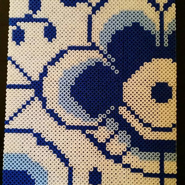 Hama perler beads By @shafiebieg - this is going into the makeover of my key cabinette.... Inspired by Danish pattern,  one of Royal Copenhagens dinnerware pattern. MegaBlue Flute. LOVE THIS!!!!