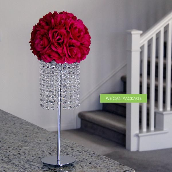 """Do it yourself kissing balls on top of crystal stand. Perfect for displaying large flower balls in any setting. Kissing Balls 17"""" Crystal Stand 21"""" Crystal Stan"""
