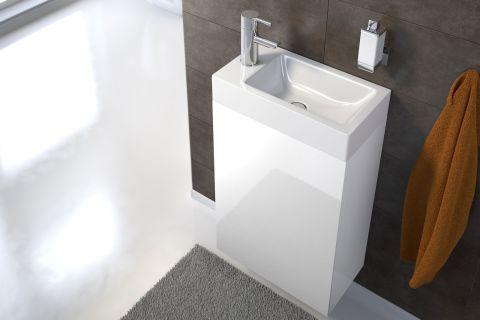 Waschplatz Vita Hochglanz Weiss 40 Cm Gastewaschbecken Kleine Badezimmer Moderne Badezimmermobel Gastewaschbecken Mit Unterschrank