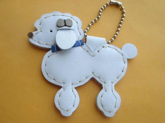 Siqi the Poodle Leather Bag Charm  White  by leatherprince on Etsy, $20.90