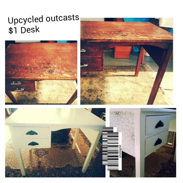 Upcycled desk before and after.