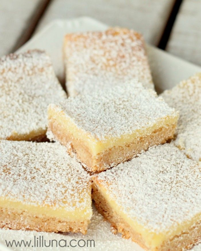 Ooey Gooey Butter Bars that melt in your mouth. One of our favorite desserts! | lilluna.com