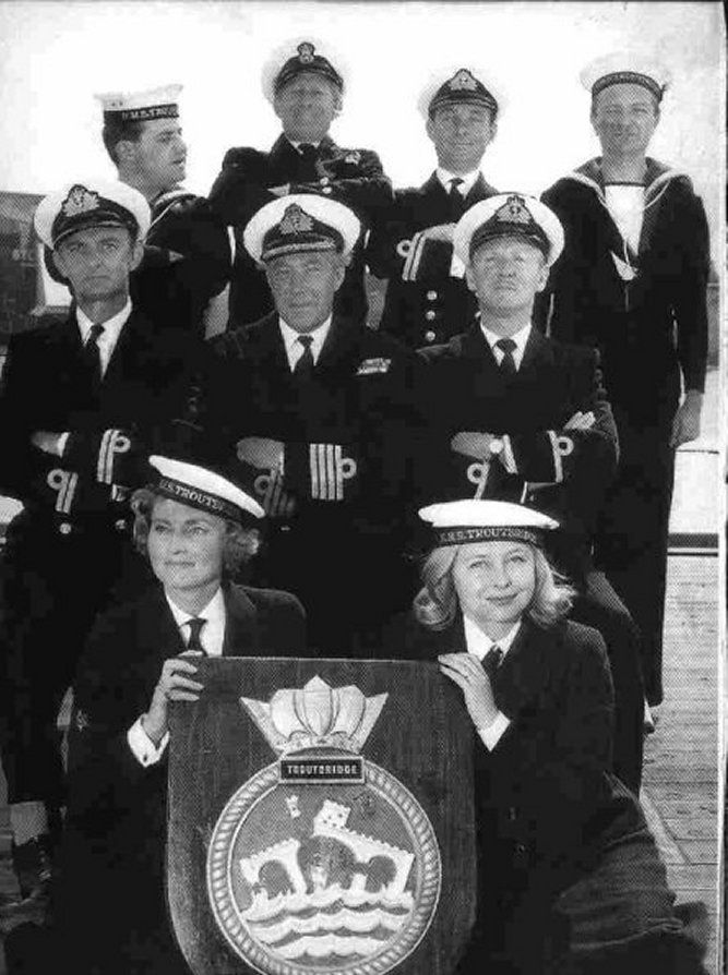 The Navy Lark (Radio show that ran from 1959-1977) Back:Ronnie Barker, Jon Pertwee, Michael Bates, Tenniel Evans. Centre: Stephen Murray, Richard Caldicot, Leslie Phillips Front: Heather Chasen and Judy Cornwall.