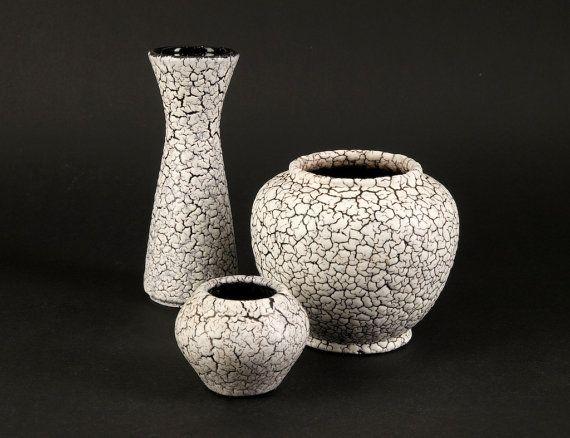 Mid Century Modern West German Pottery 3  JASBA Vases Serie CORTINA Vintage