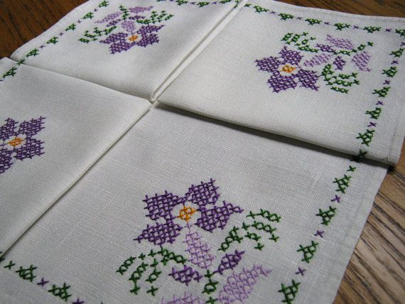 Vintage Linen Cocktail Napkins Set of Four by BeautifulPurpose