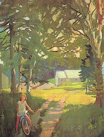 """""""The Garden Road"""" Fairfield Porter reminds me of my bike riding days..."""