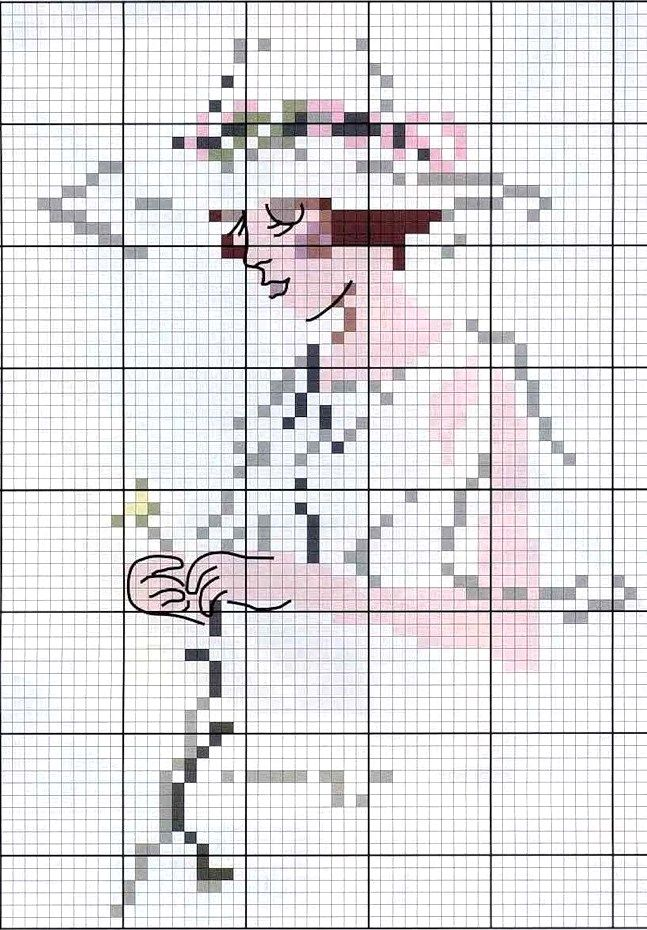 point de croix femme romantique - cross stitch romantic woman