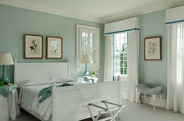 Serene bedroom with white and mint green.