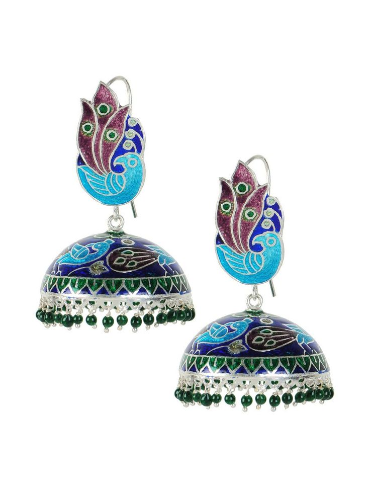 Buy Green Purple Meenakari Silver Jhumka Earrings 92.5% Sterling Jewelry Retracing Traditions Jhumkis in and Cotton Ikat Dupattas Suit Fabrics Online at Jaypore.com
