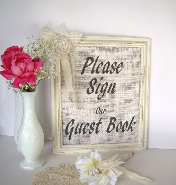 Burlap Wedding Guest Book Sign Rustic Vintage by TwiningVines, $30.00
