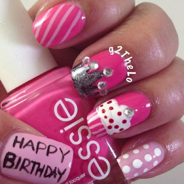--->pink Happy Birthday nail art design with cupcake & rhinestone stud crown.  love the crown! - Best 25+ Crown Nails Ideas On Pinterest Princess Nail Art, Crown