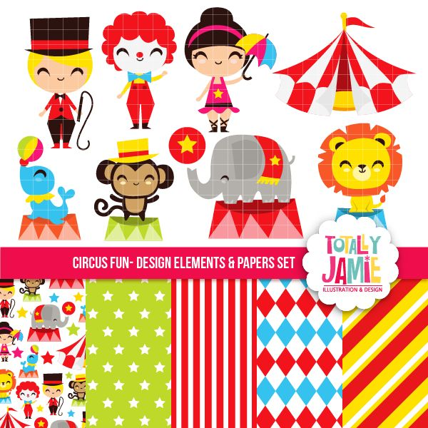 Circus Fun Set - circus themed graphics and papers for card making, scrapbooking, crafts and more.